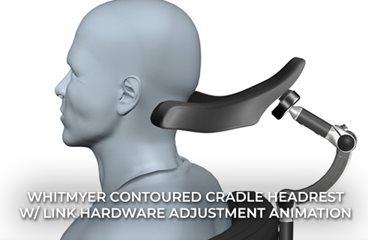 CONTOURED CRADLE Headrest with LINX Hardware Adjustment Animation