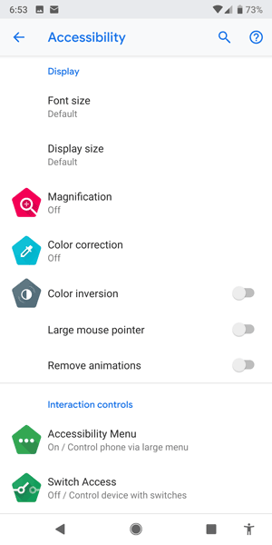 Android accessibility menu