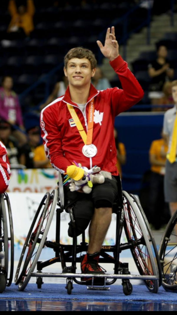 Liam Hickey with his silver medal from the 2015 Parapan Am Games