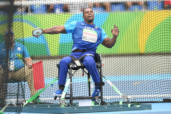 Jonnie Williams competing in the discus throw at the Rio 2016 Paralympic Games