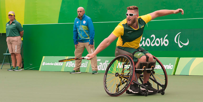 Wheelchair tennis being played at the 2016 Rio Paralympic Games