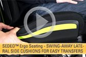 SEDEO Ergo Seating -- Swing-Away Lateral Side Cushions for Easy Transfers