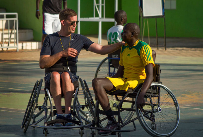 Jess Markt teaching wheelchair basketball in South Sudan