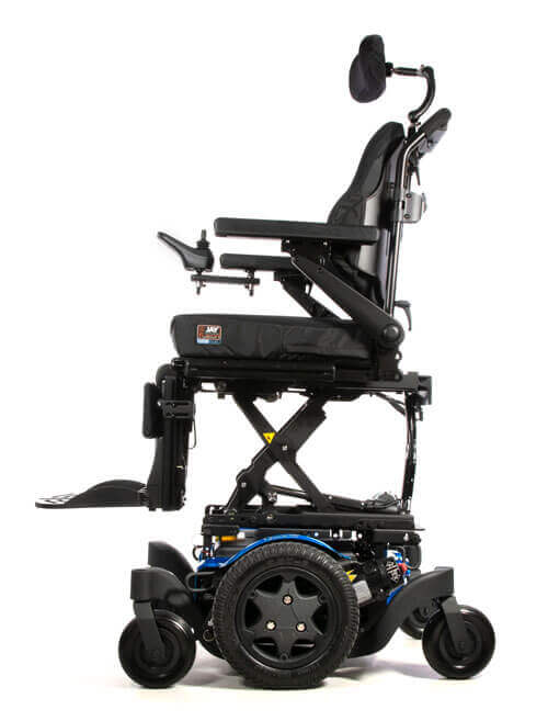 A power wheelchair with seat elevate