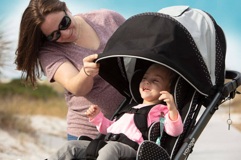 Canopy on an early intervention adaptive stroller