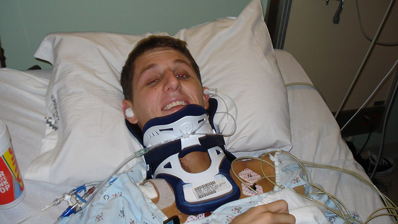 Josh in the hospital after his accident