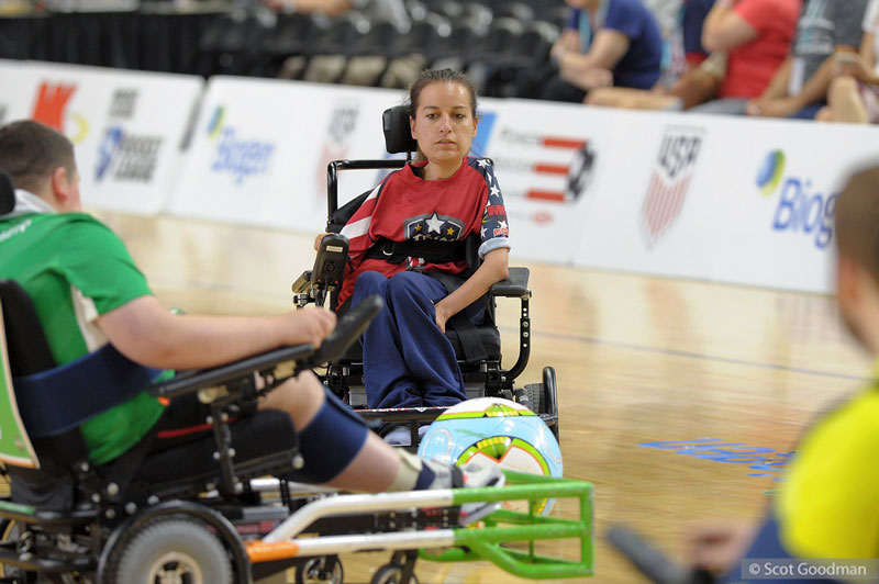 Natalie playing power wheelchair soccer. Photo by Scot Goodman