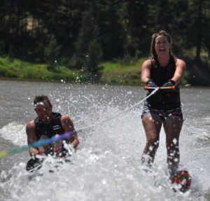 Chelsea and James water skiing