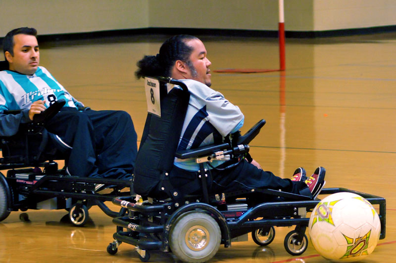 Tony playing power wheelchair soccer
