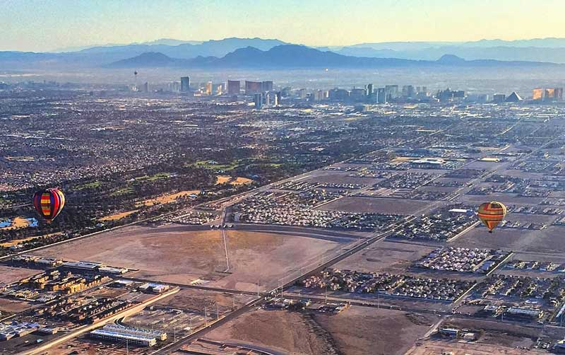 Las Vegas from the air in a hot air balloon
