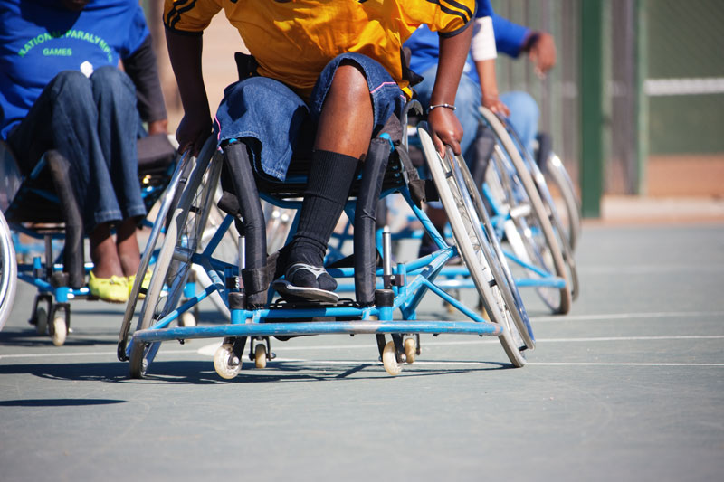 Wheelchair basketball being played