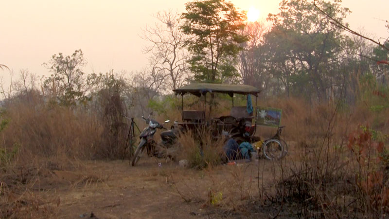 The tuk tuk parked for the night at camp