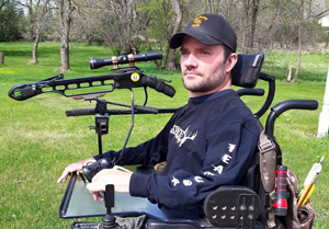 Barnett Wildcat crossbow attached to wheelchair. Practicing for turkey hunting.