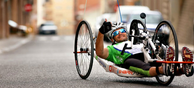 A man handcycling