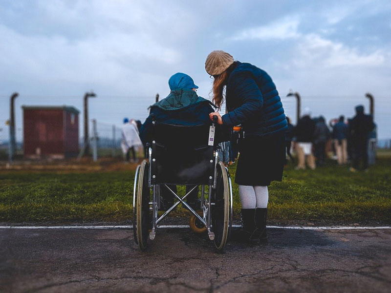 A parent with a disability with her daughter