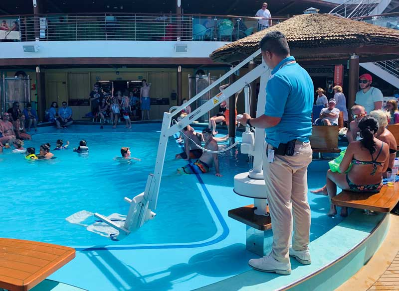 The ship's pool features an accessible lift