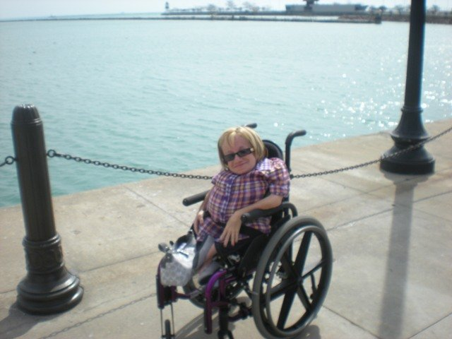 Sara visiting the waterfront in Chicago, IL