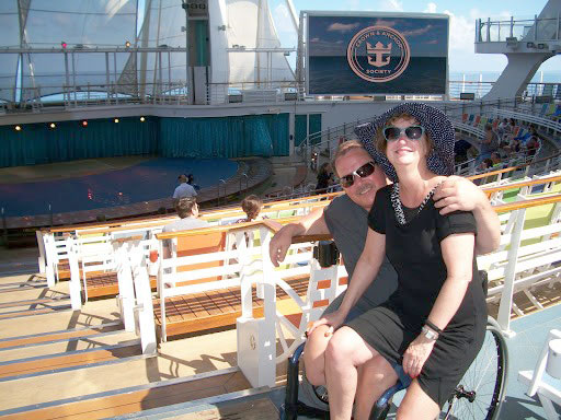 Chris and his fiancée aboard the Allure of the Sea cruise ship