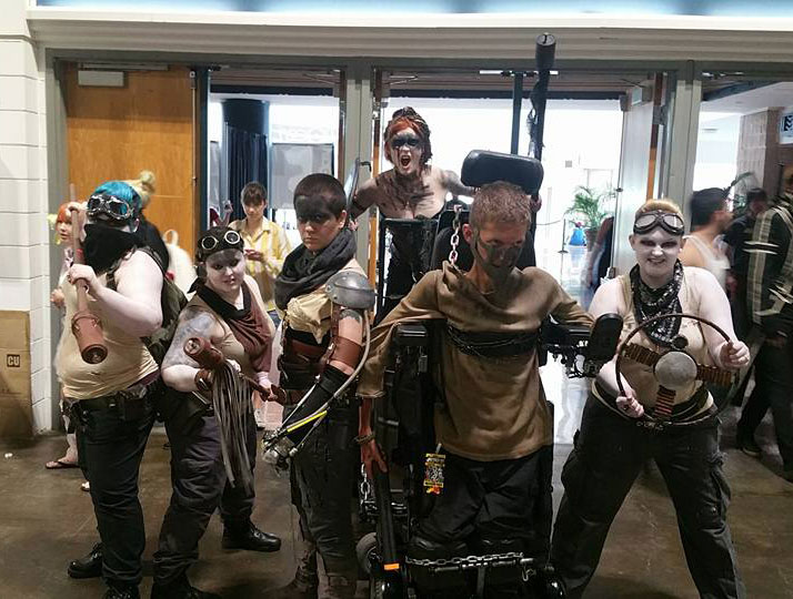 Ben cosplaying Mad Max: Fury Road with a group
