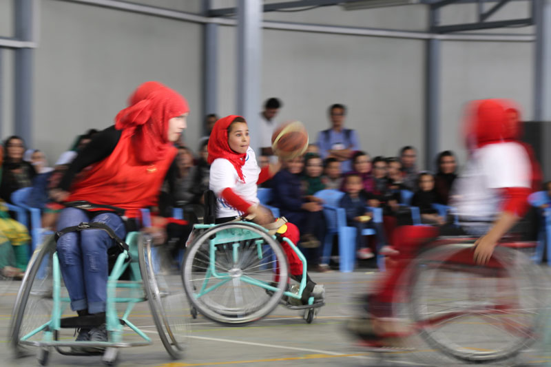 Afghanistan women playing wheelchair basketball