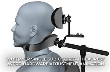 Single Sub-occipital Headrest with PRO Hardware Adjustment Animation