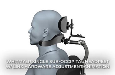 Single Sub-occipital Headrest with LINX Hardware Adjustment Animation